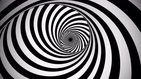 opção : A psychedelic 3d rendering of an optical illusion created by black and white lines rotating in a tunnel with spiraling effect. They create the mood of mystery and magic.