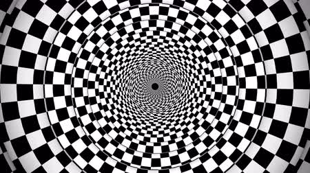 mysticism : An impressive 3d rendering of a symmetrical illusion formed by black and white squares turning in opposite way making a huge tunnel from chessboards creating the magic spirit. Stock Footage
