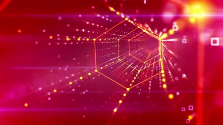 zigzag : An optical art 3d rendering of neon tunnel movement of white oval lines and snow looking spots dancing in a kaleidoscopic way in the blue background. They move, spin and look cheery. Stock Footage