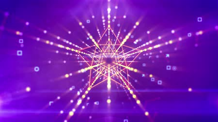 göz kamaştırıcı : An advanced 3d rendering of a straight five pointed star neon tunnel with pentagon structures inside moving in the violet background with rows of interconnected and sparkling golden spots. Loopable.