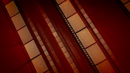 A retro 3d rendering of diagonally placed straight film tapes moving forward in the brown background. They create the feeling of high professionalism, creativity and nostalgia. Loopable.