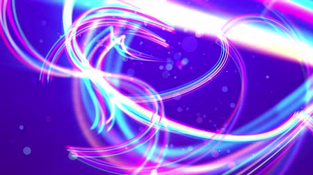 3d rendering of shimmering white, pink and celeste strokes twisting and making loops in the bright blue background. Some transparent bubbles are soaring between them optimistically. Loopable.