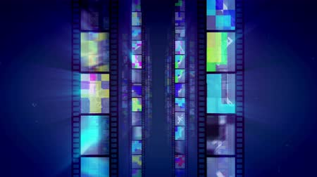 A striking 3d rendering of vertical film tapes shining like mirrors with multicolored reflections changing each other as if they are shot in a dolly in manner. They move in the dark blue background.  Loopable. Stock Footage