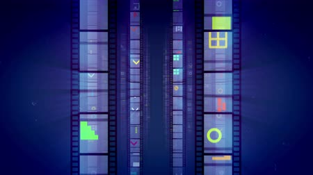 A dazzling 3d rendering of vertical film tapes beaming like mirrors with colorful images and moving forward in the dark violet background. They look hilarious and festive. Loopable.