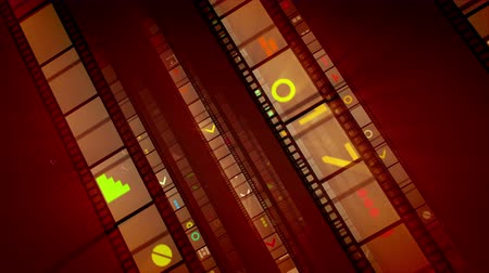 cinematography : A festive 3d rendering of diagonally located straight film tapes shining brightly with red, white and yellow pictures. They run forward in the bright brown backdrop in a cheerful way. Loopable.