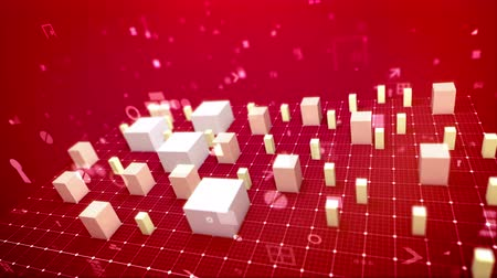 A holographic 3d rendering of a bar chart and an arrow placed on a white grid. The white columns denoting some economic indicators started growing slowly showing some business profit. Wideo