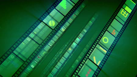 A wonderful 3d rendering of straight film tapes placed aslant sparkling brightly with violet, white and yellow pictures. They roll forward in the light khaki background in a joyful way. Loopable. Stock Footage