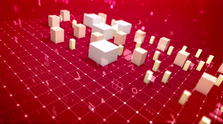 A cyberspace 3d rendering of a bar chart and several signs including angle bracket, number, dollar and percent put aslant on a white network. The white columns move up showing profit. Stock Footage