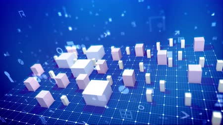 A computer graphics 3d rendering of a bar chart and pc signs including angle bracket, number, dollar and percent placed on the grid in the blue background. The white columns rise up. Stock Footage