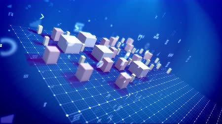 An incredible 3d rendering of a bar chart with rising rectangular and cubic business columns denoting some business indexes in the blue background. There are additional pc signs and spots. Wideo
