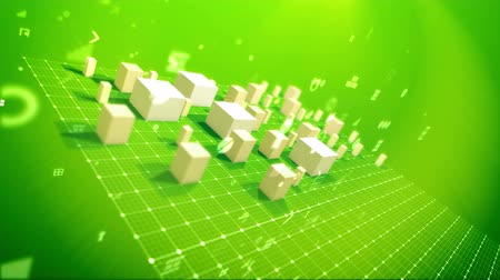 An arty 3d rendering of a bar chart with growing cubic columns meaning revenue in the salad backdrop placed askew with flying dots, key holes, angles and other computer symbols Стоковые видеозаписи