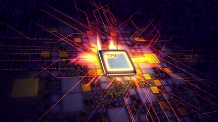 A hi-tech 3d rendering of a CPU processor placed askew in the violet background. It is surrounded with multicolored squares and a grid of lines. The energy rays are transmitted in all directions. Стоковые видеозаписи