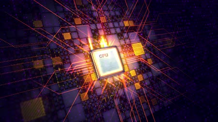 An innovative 3d rendering of a square CPU processor placed aslant in the violet backdrop. It is connected with golden squares and a grate of lines. The sparkling signals move around. Dostupné videozáznamy