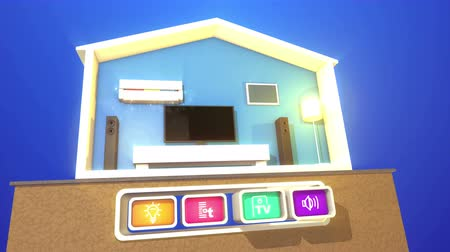 A funny 3d rendering of smart home concept with a plasma TV, big rectangular speakers,  floor lamp, white wooden bed, air conditioner  and four toy looking icons with symbols. Wideo