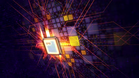 An advanced 3d rendering of a square CPU microprocessor put askew in the violet backdrop. It is connected with yellow squares and a plexus of lines. The shimmering rays fly around. Стоковые видеозаписи