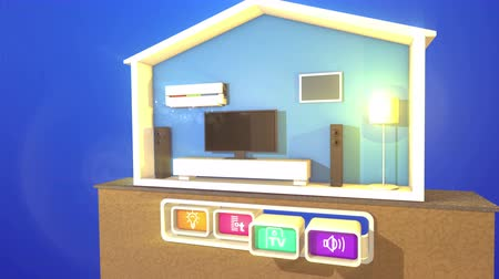 An optimistic 3d rendering of switching smart home section with a plasma TV, big rectangular speakers,  floor lamp, white wooden bed, air conditioner  and four buttons with signs.