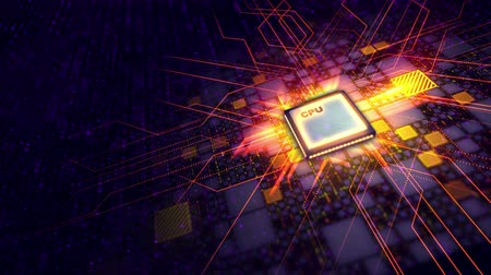 A superior 3d rendering of a square CPU microprocessor put aslant in the violet motherboard. It is linked with golden plates and a network of crisscross lines. The glittering energy rays go around.