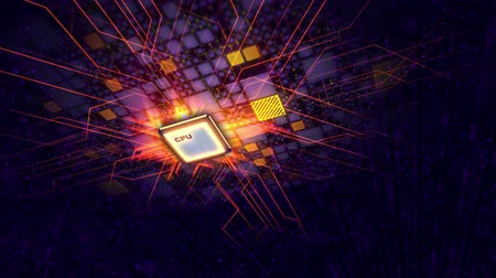 An ultramodern 3d rendering of a square CPU processor located askew in the violet motherboard. It is shot from up down and pan perspective. The shining pink and golden lines move around. Stock Footage