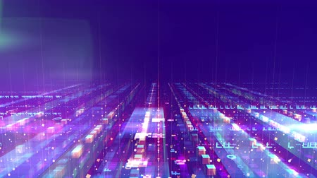 3d rendering of a space design structure put askew with several surfaces imposed on each other. They are transparent and full of sparkling dots, lines and squares in the blue backdrop. Loopable. Stock Footage