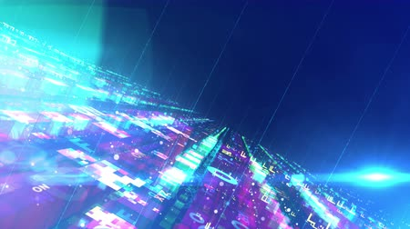 A stunning 3d rendering of a computer space structure depicted in a holographic way with flat surfaces fixed to each other. They are glittering, technological and have streamlined forms. Loopable. Stock Footage