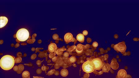 A cheery 3d rendering of sparkling round coins falling and jumping optimistically in the dark brown and violet background. They spin and whirl and give the feeling of wealth and fortune. Стоковые видеозаписи
