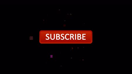 An impressive 3d rendering of an oval red subscribe button with an approaching white arrow pressing it in the black background. The icon turns into a white one and small signs appear on the screen.