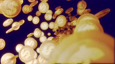 canto : A jolly 3d rendering of glittering dollar coins soaring horizontally in the dark violet background. They whirl and fly optimistically and create the mood of happiness and confidence. Stock Footage