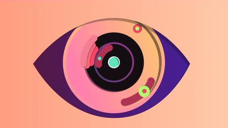 An optimistic 3d rendering of a technological eye with a black pupil, rosy iris and dark blue retina, opening and closing periodically in the pink background. It has shutters and small cameras. Stock Footage