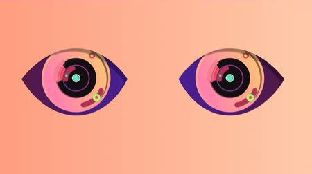 A cheery 3d rendering of two artificial eyes with black pupils, rosy irises and blue retina. They wink and move up and down periodically in the pink backdrop. They have some spotty devices inside. Стоковые видеозаписи