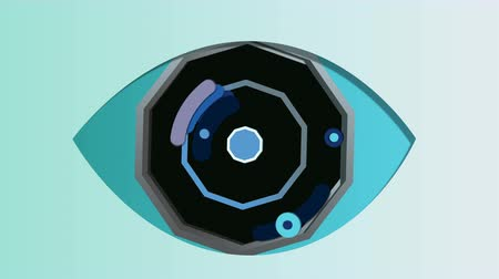 A mysterious 3d rendering of an artificial eye with an octagonal blue pupil, black and grey iris and dark blue retina, opening and closing in the celeste backdrop. It has moving cameras in slots.