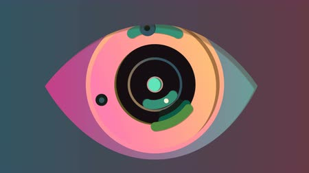 3d rendering of a manmade eye with a blue pupil, black and rosy iris and violet retina. It opens and closes, while its iris moves right and left in the grey background. It has cameras in slots.