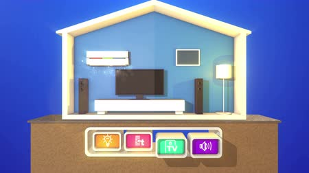 A hilarious 3d rendering of a turned on smart home section with a working plasma TV, large speakers,  classic floor lamp, white modern bed, air conditioner  and four icons with symbols. Стоковые видеозаписи
