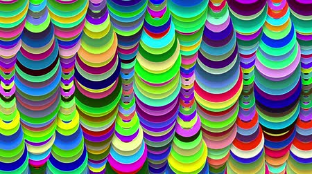 voyante : A celebratory 3d rendering of abstract colorful drop decor with moving down figures looking like children`s toys with round holes inside shaping long tubes in the black background.