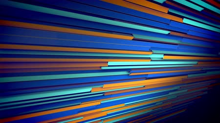 An arty 3d rendering of horizontal multicolored shutter placed aslant stirring slowly and shifting the colors of lines. They vary from brown to blue and violet. The blinds look alive and cheery. Stok Video