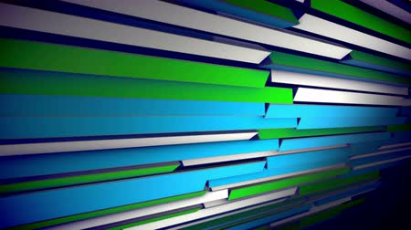 A stunning 3d rendering of horizontal colorful blinds rotating slowly and changing the colors of straight lines placed askew. They change from white to pink, blue and salad. The shutter  looks cheery.