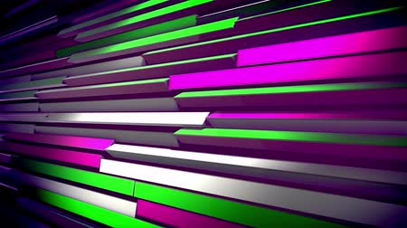 feloszt : A striking 3d rendering of horizontal multicolored jalousie revolving slowly and altering the colors of straight lines. They change from yellow to pink, black and salad. The blinds look optimistic.