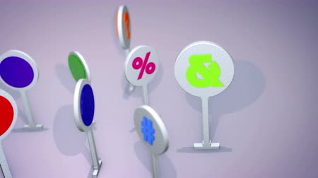 cytat : An optimistic 3d rendering of such multicolored computer symbols as question and exclamation marks, at and dollar signs, number and grate icons standing and rotating cheerfully. They look funny. Wideo