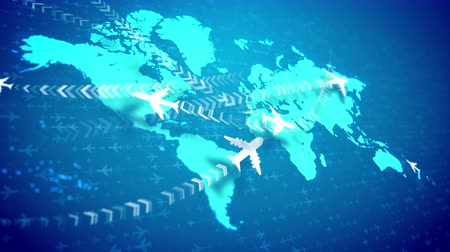 brackets : A wonderful 3d rendering of white airplanes flying along the routes marked with rows of brackets over the light blue world map placed askew. They inspire the mood of optimism and success. Stock Footage