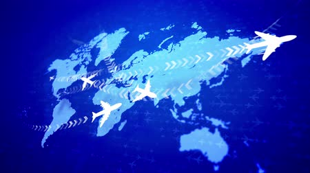 bracket : A splendid 3d rendering of white airplanes flying along the routes marked with rows of brackets over the light blue world map put askew. They inspire the mood of accomplichment and optimism. Stock Footage