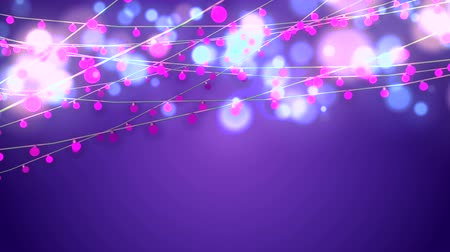 dazzle : A cheerful 3d rendering of Christmas string garlands from pink bulbs and blured celeste and yellow balls in the violet background. They dazzle joyfully shaping the mood of fest and holiday. Stock Footage