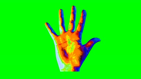 An amazing 3d rendering of a human hand showing a high five gesture in the multicolored background changing its colors every second. The image creates the mood of art and optimism. Stok Video