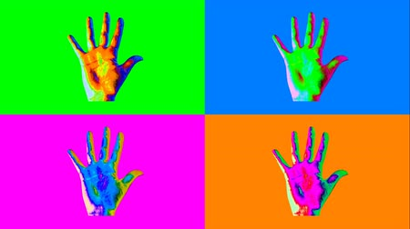 gest : A popular art 3d rendering of four human hands showing high five gestures in the colorful backgrounds changing their colors every second. The animation forms the mood of joy and optimism