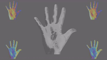 An original 3d rendering of five human hands showing high five gestures in the black, grey and white backgrounds. The bigger hand is placed in the center, four others in the corners. Stok Video