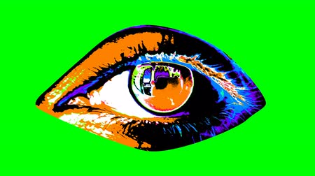 bulva oční : A pop art 3d rendering of a human female eye with black pupil, colorful iris and shimmering retina in the multicolored background changing its bright colors every second. It looks happy.