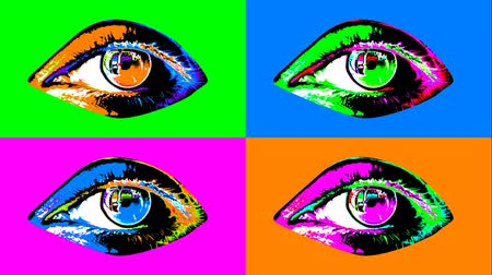 A popular art 3d rendering of four attractive human female eyes with dark pupils, colorful irises and flickering retinas in the multicolored backdrop shifting their bright colors every second. Stok Video
