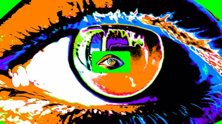 An opt art 3d rendering of a big human female eye with a dark pupil, colorful iris and flickering retina with a small one inside. The small eye grows bigger and forms a tunnel in human conscience. Stok Video