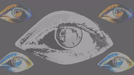 A pop art 3d rendering of five human female eyes with dark pupils, colorful irises and flickering retinas in the black and white backdrop shifting their bright colors every second. Stok Video