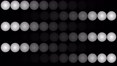 6 : A cheerful 3d rendering of led panel lights from billiard balls placed in rows and forming six moving ways. Three of them move in an opposite way in the black background. They look energetic.