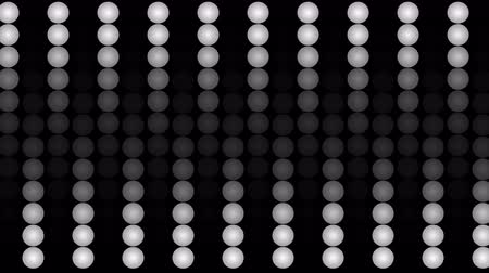 dez : A jolly 3d rendering of led panel lights from billiard balls placed in rows and forming twenty vertical ways. Ten of them roll in an opposite way in the black background. They look active and funny.
