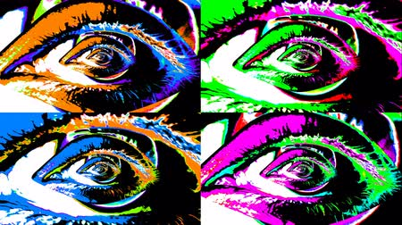 получать : An optical art 3d rendering of four human female eyes in bright colors. Two of them grow bigger and the other two get smaller. They move constantly creating a mesmerizing and hypnotic effect.